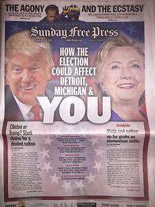 DONALD TRUMP HILLARY CLINTON 2016 PRESIDENT ELECTION DETROIT MICHIGAN NEWSPAPER