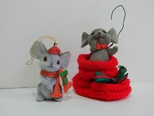 Flocked Mice Mouse Christmas Ornaments with Crochet Knit Sock Girl and Boy Pair