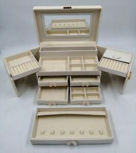 "Vintage Expanding Cream Vanity Ring Necklace set MULTI Drawers, mirror 7x11x6"""