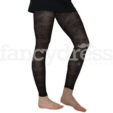 Great Britain Flag Black Footless Tights One Size Royal Street Party NEW