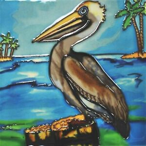 Pelican on Piling Ceramic Tile 4 Inches