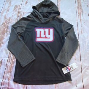 NFL New York Giants childrens long sleeve, hooded shirt-black-size S 6/7-NWT