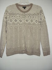 Willi Smith White Tan Silver Thread 73%Lambswool Crewneck Beaded Cardigan L