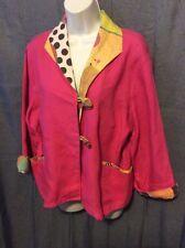 Artsy It's Ok To Have Too Much Fun Hot Pink Linen XL Jacket Blazer
