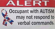 3- Autism Emergency Alert Window Sticker (sold in set of 3) 6 x 3 1/2inch each