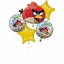 Pack of 5 Angry Birds Bouquet Foil Helium Balloons - Angry Bird Party Balloon