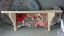 WOODEN WALL STORAGE SHELF MADE WITH VINTAGE SANDERSON ROSE & PEONY DESIGN HOME