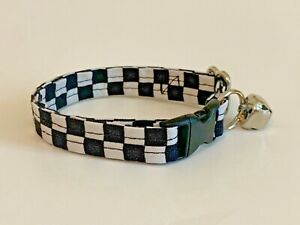 BLACK AND WHITE CHECK print CAT OR KITTEN COLLAR (you choose the size)