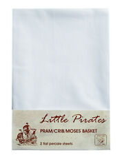 2 x Baby Pram/Crib/ Moses Basket White Flat Sheet 100% Luxury Cotton