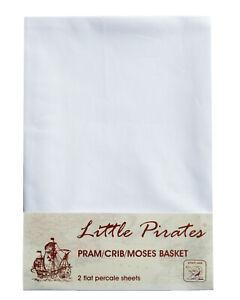 2 x Baby Pram/Crib/ Moses Basket White Flat Sheet 100% Luxury Cotton