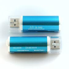 M2 Lector de tarjetas Micro SD SDHC USB azul