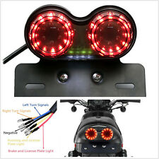 12V Smoke Len LED Dual Head Motorcycle License Plate Brake Tail Light Waterproof