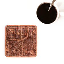 Des Moines, IA  map coaster One piece  wooden coaster Multiple city IDEAL GIFTS