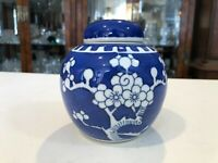 "Vintage Japanese Porcelain Blue & White Prunus Ginger Jar with Lid, 4 3/4"" Tall"