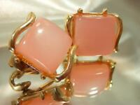 Vintage 60's Pretty Pink Moonglow Gold Tone Coro Signed Clip On Earrings 536jn9