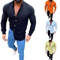 Mens Shirts Solid Colored Long Sleeve Cotton Linen Turn Down Collar Dress Shirts