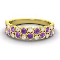 1.00 Ct Amethyst Wedding Eternity Band 14K Solid Yellow Gold Diamond Ring Size K