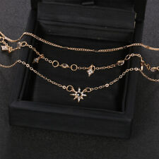 Multilayer Gold Chain Choker Star Crystal Women Jewelry Pendant Necklace d