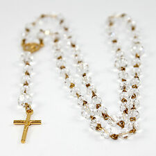 Crystal Rosary Beads with 25mm Crucifix m/w Swarovski© Crystal - G **FREE POST**