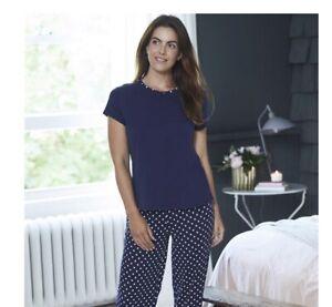 AVON Ladies Womens Navy Spot PJs Pyjamas Set UK Size 16-18 LARGE NEW