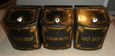Set of Signed 19th C. Toleware Canisters Philadelphia