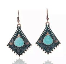 Women's Fashion Jewelry Vintage Antique Alloy Dangle Turquoise Earrings 68-6