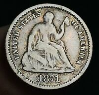 1871 Seated Liberty Half Dime 5C High Grade Good Date 90% Silver US Coin CC3704