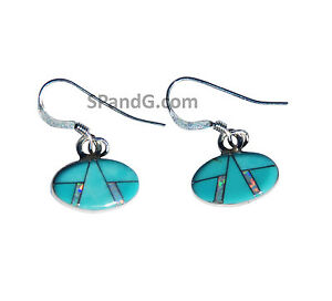 Small Horizontal Oval Shape Handmade Sterling Silver Inlaid Turquoise Fire Opal