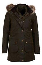Barbour Women's Olive Thrunton Waxed Cotton Faux Fur Trim Hooded Jacket $525