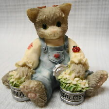 Enesco Calico Kittens - Kitty With Tuna & Salmon Cans 1996 #204048
