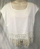 Monteau Women's Lace Front Crop Top, Size L White Lace