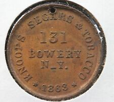 1863 New York City Civil War Token Knoors Segars & Tobacco