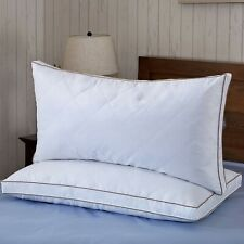2 Pack Goose Down Feather Bed Pillows Gusseted