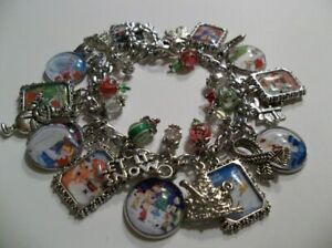 Classic Christmas Rudolph Grinch Charlie Brown Frosty Charm Bracelet Glass Dome