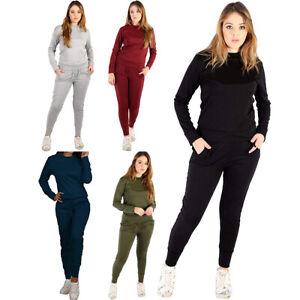 New Womens Top Bottoms Loungewear 2 Pcs Co-Ord Set Fleece Plain Tracksuit