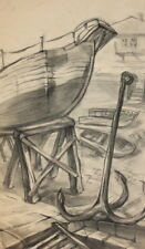 Vintage pencil drawing cityscape boats anchor