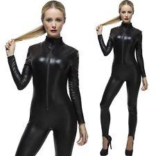 Ladies Miss Whiplash Costume Black Fancy Dress Catsuit & Whip