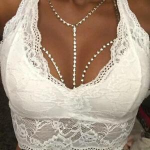 Open Bra Body Chains Rhinestone Diamante Gold/Silver Crystal Harness Party Club