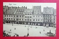 AK EGER in Böhmen um 1920 Markt mit Ladengeschäften     ( 29631