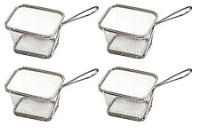 4 piece Stainess Steel Fries Fish and Chips Serving Basket Holder Party BBQ Food
