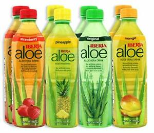 8 Aloe Vera Drink Pure Aloe Pulp Variety Original Mango Pineapple Strawberry