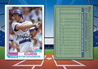 1982 Topps Style RYNE SANDBERG Custom Artist Novelty MLB Baseball Card