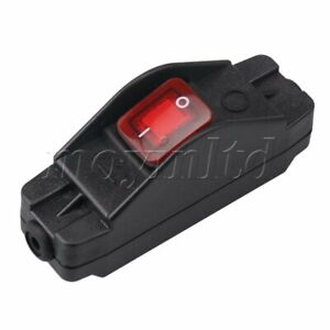 30A 220V IP65 Waterproof On/Off Inline Cord Switch with Indicator Black