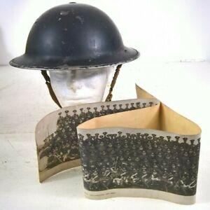WW2 1939 CIVIL DEFENCE HELMET / TOMMY HELMET & 1st BATT SUFFOLK REG PHOTO 1927
