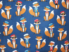 Fantastic Mr Fox sailors fabric, Robert Kaufman, nautical, dark blue FREE P&P