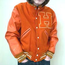 Varsity Letter Jacket, Leather Sleeves, Size Medium, Orange