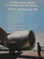 7/1977 PUB GENERAL ELECTRIC CF6 ENGINE 46 AIRLINES A300 DC-10 747 ORIGINAL AD
