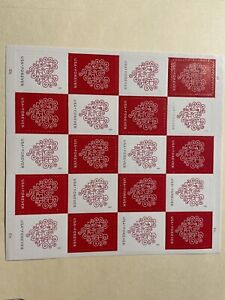 us stamp # 4955-56, White Heart/Red,  20 Forever Love MNH stamps, CV at $21.00.