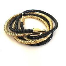 Vintage Gold Black Double Strand Metal Serpentine Snake Coil Swag Waist Belt S M