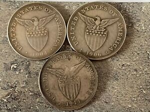 US Philippines One Peso Set 3 coins 1904,1906,1911